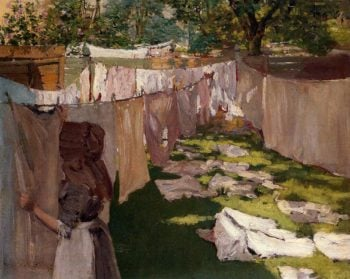 Wash Day A Back Yard Reminiscence of Brooklyn | William Merritt Chase | oil painting