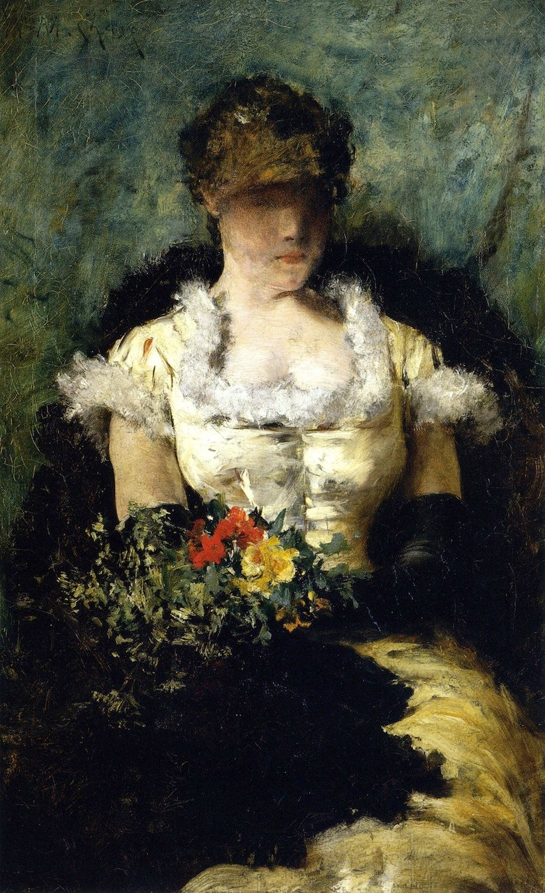Woman Holding a Bouquet of Flowers | William Merritt Chase | oil painting