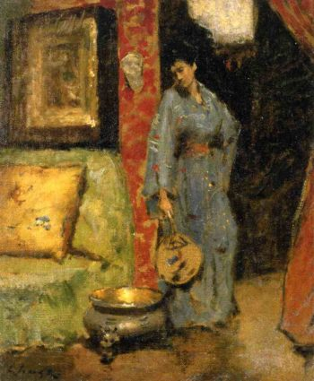 Woman in Kimono Holding a Japanese Fan   William Merritt Chase   oil painting