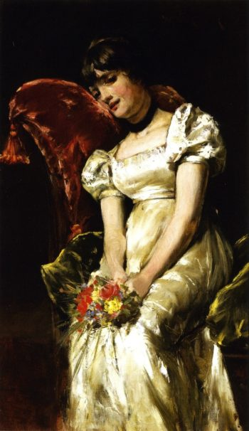 Young Girl with Flowers | William Merritt Chase | oil painting