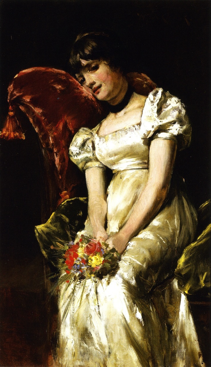Young Girl with Flowers   William Merritt Chase   oil painting