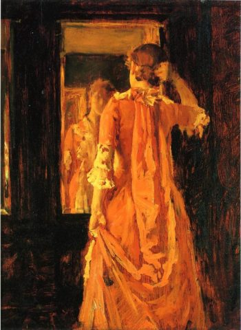 Young Woman in a Mirror | William Merritt Chase | oil painting
