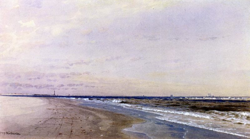 Abescon Light Atlantic City NJ   William Trost Richards   oil painting