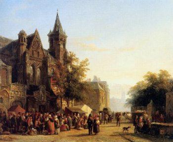 City view with figures | Cornelius Springer | oil painting