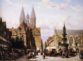Altstadtmarkt in Brunswijk | Cornelius Springer | oil painting