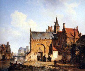 Fantasy cityview of Maassluis | Cornelius Springer | oil painting