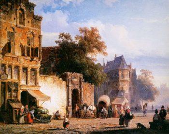 Cityview wiith marketstall | Cornelius Springer | oil painting