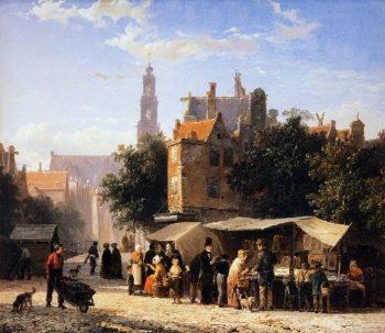 Bookstall on the Noordermarket | Cornelius Springer | oil painting