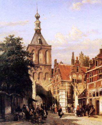 Binnenpoort in Culemborg | Cornelius Springer | oil painting