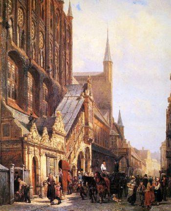 Cityhall in Lubeck | Cornelius Springer | oil painting