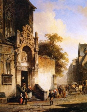 Coming out of church | Cornelius Springer | oil painting
