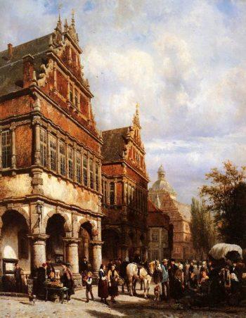 Cityhall Paderborn | Cornelius Springer | oil painting