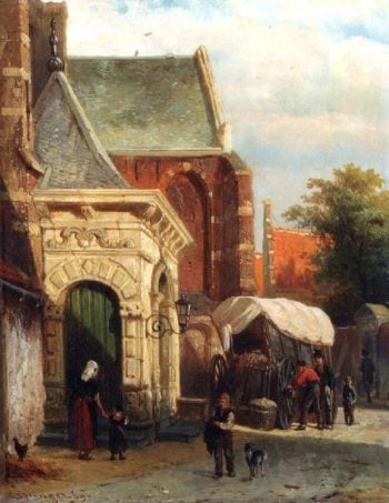 A view of the South entrance of the St Pancras church Enkhuizen | Cornelius Springer | oil painting
