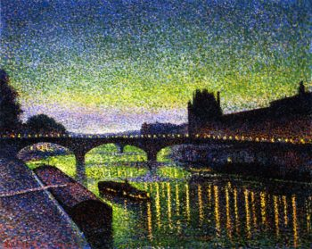 The Louvre and Pont du Carrousel Night Effect | Maximilien Luce | oil painting