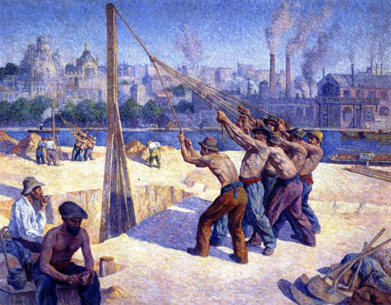 The Pile Drivers   Maximilien Luce   oil painting