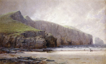 Fisherman on the Shore Trebarwith Strand Cornwall | William Trost Richards | oil painting