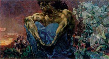 Demon sitting   Mikhail Vrubel   oil painting