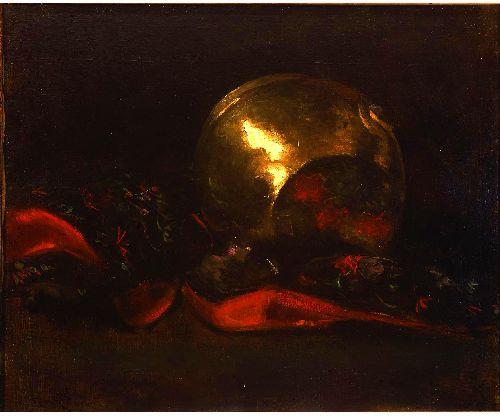 Still Life with Brass Vase and Kimono | Abbott Handerson Thayer | oil painting