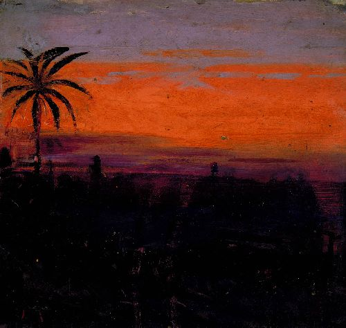 The Sky Simulated by Red Flamingoes | Abbott Handerson Thayer | oil painting