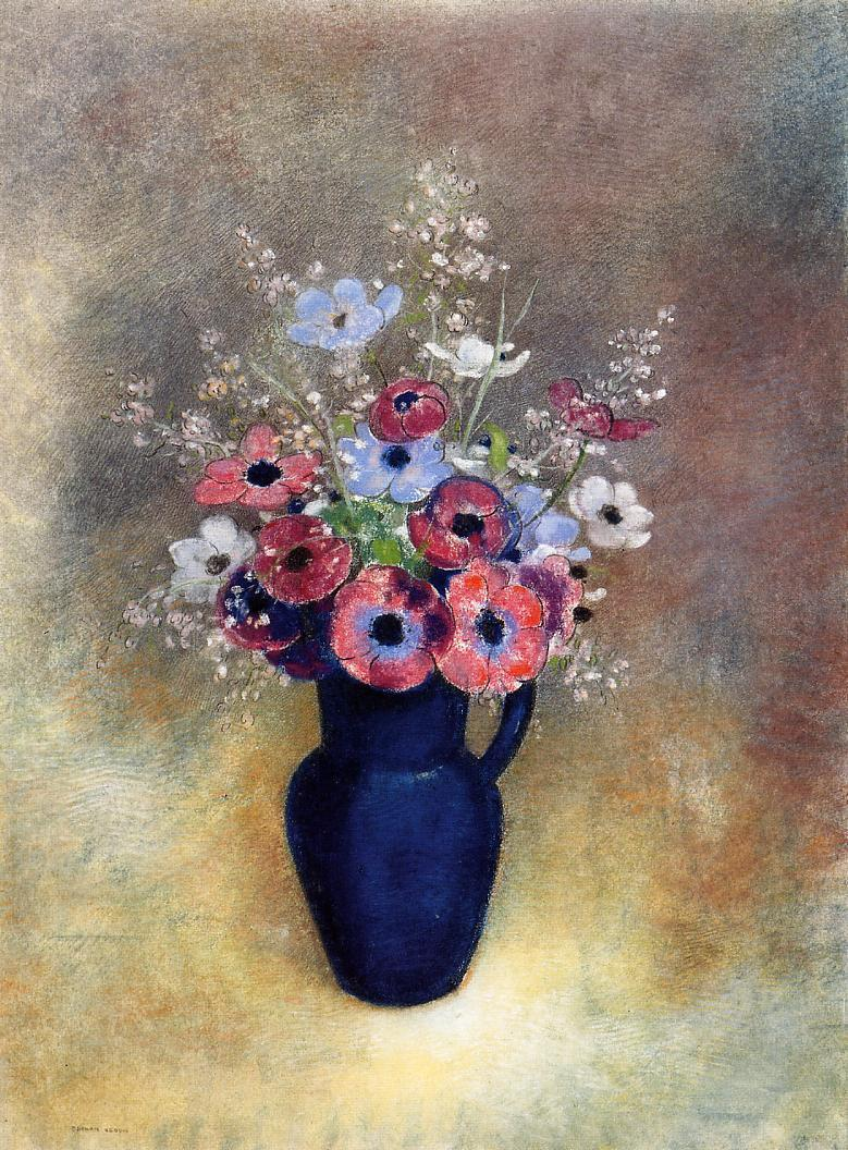 Anemones in a Jug | Odilon Redon | oil painting