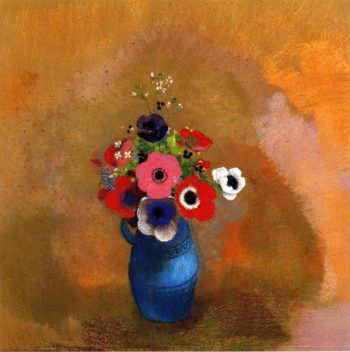Anemonies in a Blue Vase | Odilon Redon | oil painting