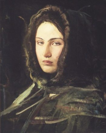 A Woman with a Fur Lined Hood | Abbott Handerson Thayer | oil painting