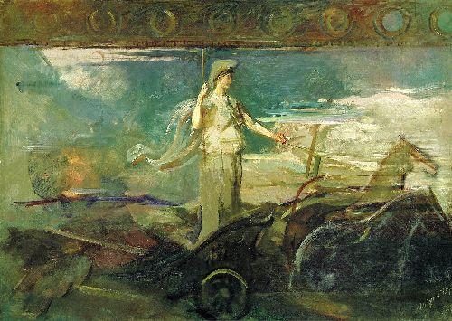 Minerva in a Chariot | Abbott Handerson Thayer | oil painting