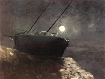 Boat in the Moonlight | Odilon Redon | oil painting