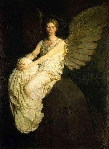 Winged Figure Seated Upon a Rock | Abbott Handerson Thayer | oil painting