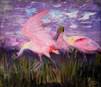 Roseate Spoonbills | Abbott Handerson Thayer | oil painting