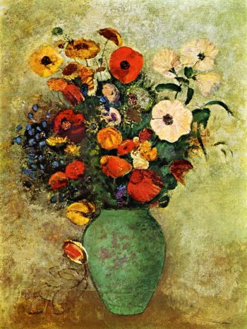 Bouquet of Flowers in a Green Vase | Odilon Redon | oil painting