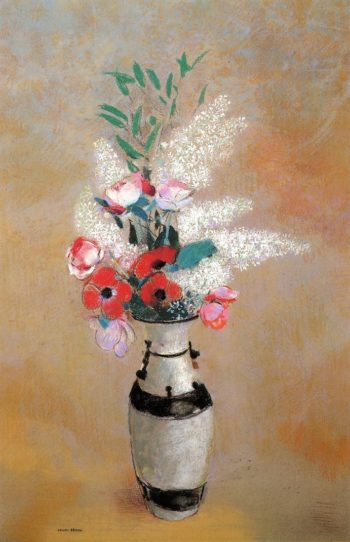 Bouquet with White Lilies in a Japanese Vase | Odilon Redon | oil painting