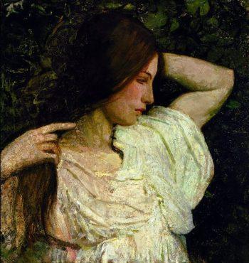 Girl Arranging Her Hair | Abbott Handerson Thayer | oil painting