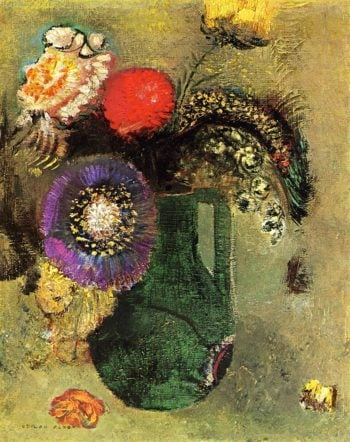 Flowers in Green Vase with Handles | Odilon Redon | oil painting