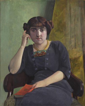Portrait de jeune femme en robe de velour | Felix Vallotton | oil painting