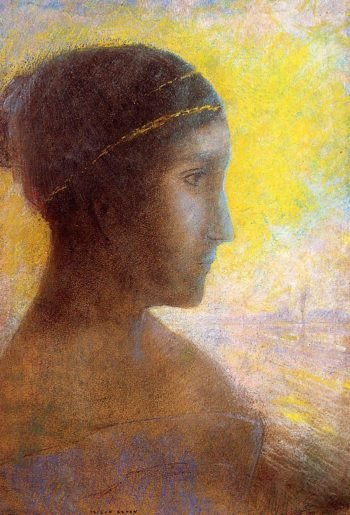 Head of a Young Woman in Profile | Odilon Redon | oil painting