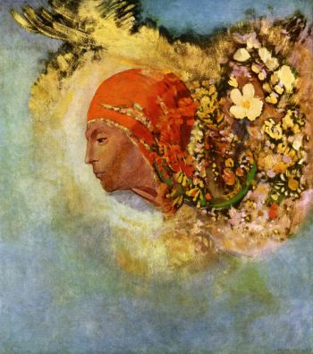 Head with Flowers | Odilon Redon | oil painting