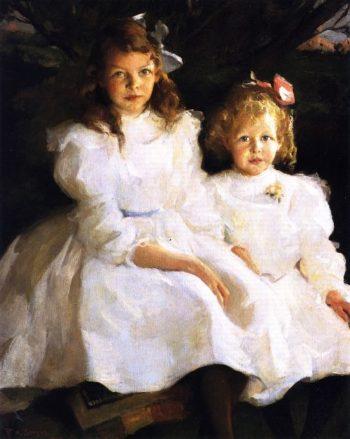 Two LIttle Girls | Frank W Benson | oil painting