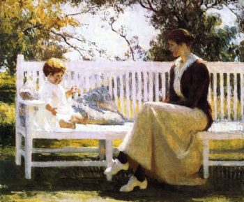 Eleanor and Benny | Frank W Benson | oil painting