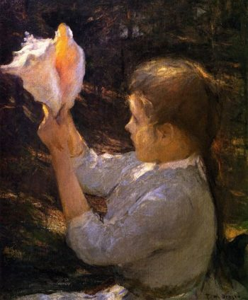 Child with a Seashell | Frank W Benson | oil painting
