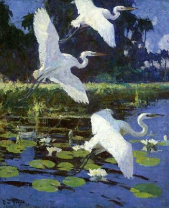 Herons and Lilies | Frank W Benson | oil painting
