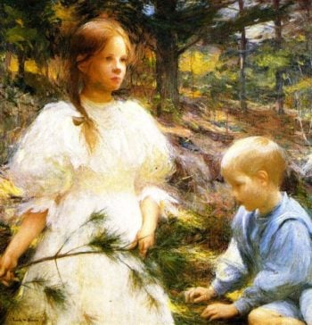 Children in the Woods | Frank W Benson | oil painting