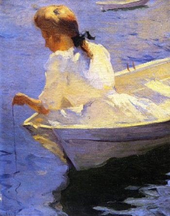 Eleanor in the Dory | Frank W Benson | oil painting