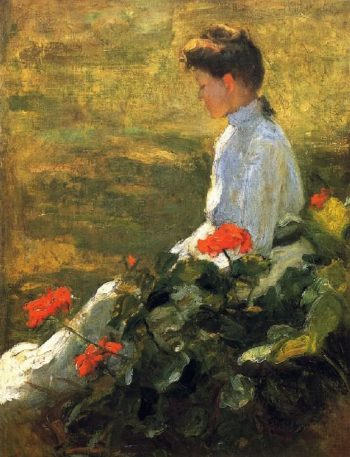 Woman with Geraniums | Frank W Benson | oil painting