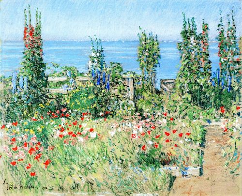 Hollyhocks Isle of Shoals   Frederick Childe Hassam   oil painting