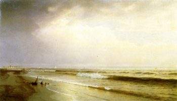 Seascape with Distant Lighthouse Atlantic City New Jersey | William Trost Richards | oil painting
