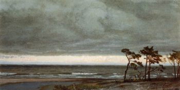 Seascape with Pines and Overhanging Clouds | William Trost Richards | oil painting
