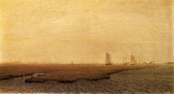 Ships in the Inlet Atlantic City | William Trost Richards | oil painting