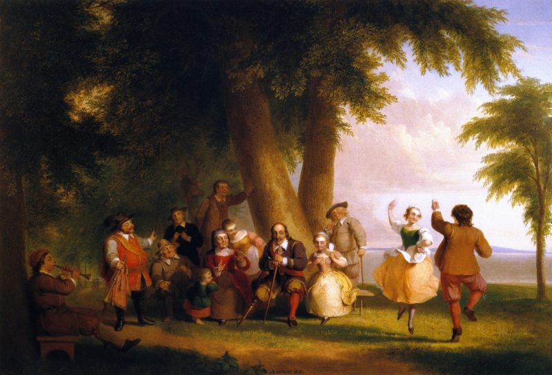 Dance on the Battery in the Presence of Peter Stuyvesant | Asher B Durand | oil painting