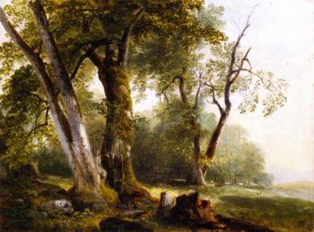 Landscape with Beach Trees   Asher B Durand   oil painting